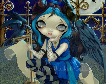 Quoth the Raven Nevermore goth poe fairy art print by Jasmine Becket-Griffith 8x10