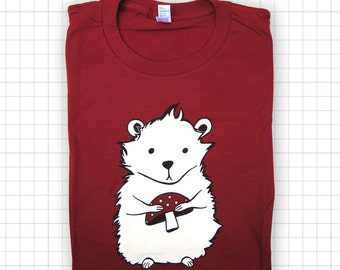 SALE Maroon Hamster Screen Printed T-shirt - American Apparel