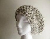 Womens Hat - Wheat Crocheted Slouchy Beanie Hat - Slouch Hat - Crochet Hat