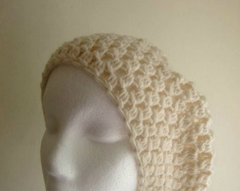 Hat - Cream Crochet Beanie Slouchy Hat - cream yarn - women fall hat accessory