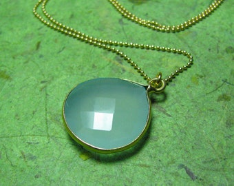 SeaBliss - Chalcedony and 14k GF Necklace