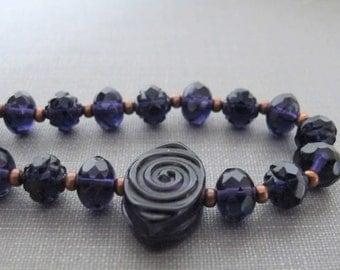 Dark Violet Necklace, Copper Necklace, Glass Necklace, Copper Chain, Copper Jewelry, Transparent Purple, Deep Purple Glass