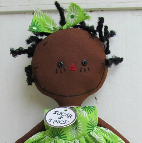 cloth rag doll African American handmade Olivia in Green