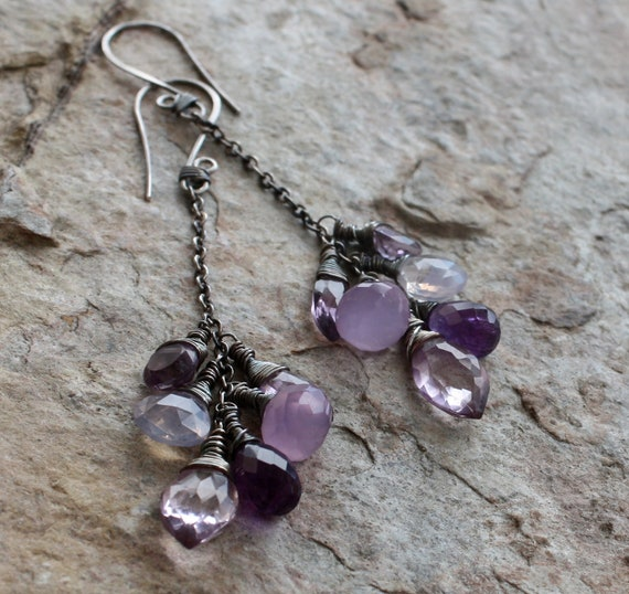 RESERVED-  PURPLE Multi Gemstone earrings, SCOROLITE, Amethyst, Chalcedony, pink Amethyst, and Mystic pink Quartz