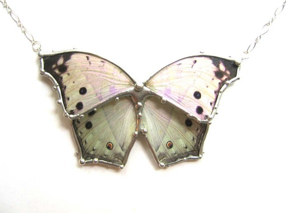 Mother of Pearl Butterfly Necklace - Real Butterfly Wings