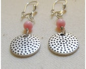 """Coral and Silver disk dangle earrings, silver lever back ear wires""""Asian Coral Earrings"""""""