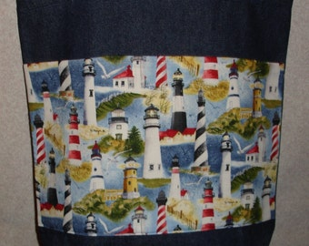 New Handmade Large Packed Lighthouse Denim Tote Bag