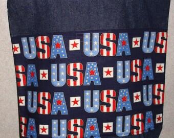 New Large Handmade USA Patriotic America Denim Tote Bag