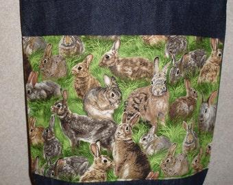 New Medium Handmade Bunny Rabbit Nature Backyard Wildlife Denim Tote Bag