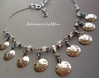 Grandma Necklace 9 Nine Children Grandchildren Birthstone Sterling Silver Jewelry