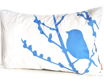 Limited Time Sale Royal Blue Print on Off-white Bird on Cherry Blossom Pillow
