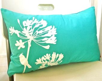 Mint Green Print Cardinal on Agapanthus Rectangle Pillow READY TO SHIP