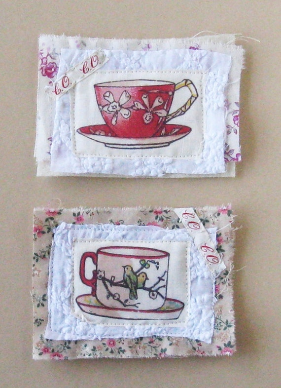 Pair of mini art quilties, Tea for Two