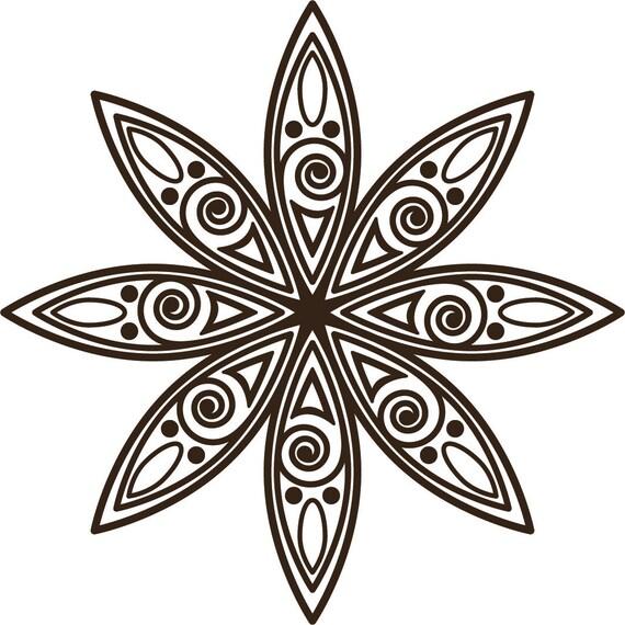Mehndi Flower Wall : Items similar to henna style flower vinyl wall decal