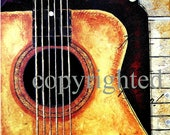 NOTES & QUOTES number 106.... natural classical guitar.... 5x7 giclee print