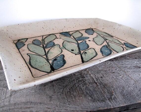 Large Rectangular Serving Platter - Tableware - Dinnerware - Leave and Vines - Handmade
