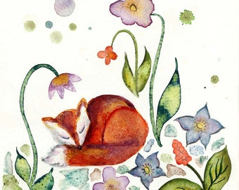 little fox napping in the garden