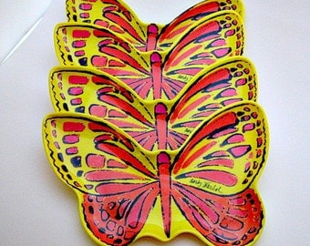 Andy Warhol Butterfly Melmac Plates - Set of 4 Yellow Butterfly Plates Signed Andy Warhol