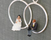 tiny people hoop earrings- bride & groom