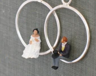 Tiny People Hoop Earrings- bride & groom