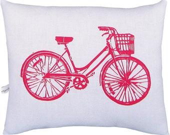 block print bike squillow accent pillow