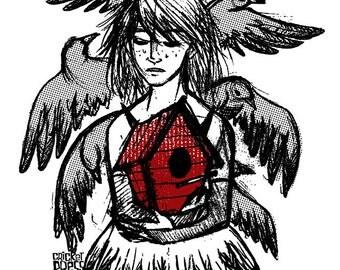Raven Girl - Screenprinted Mini Print