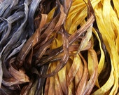 Hand Dyed Ribbon  MEADOWLARK  dazzle 4 Yards