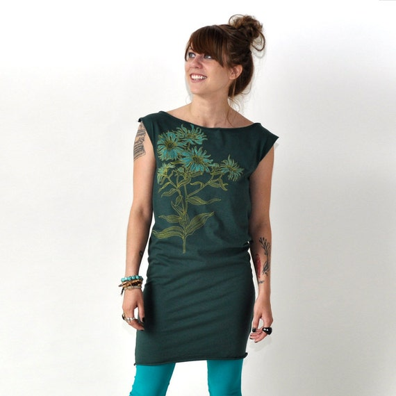 Aster, Botanical Design, Sheath Dress, Hand Screen Printed by Maryink