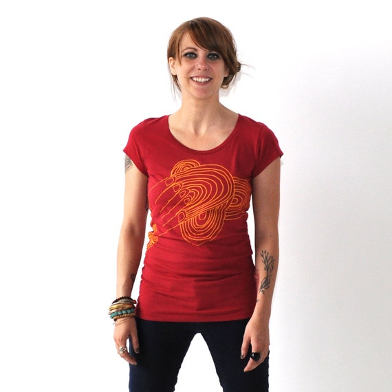 SALE Hands, Abstract Design, Red Cotton Scoop Tee, Hand Screen Printed by Maryink
