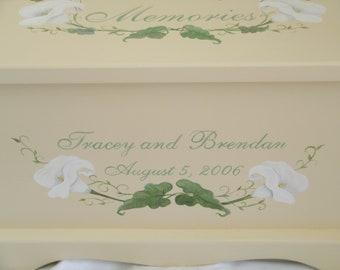 Wedding keepsake box keepsake chest memory box wedding card box - Calla Lily hand painted personalized wedding gift