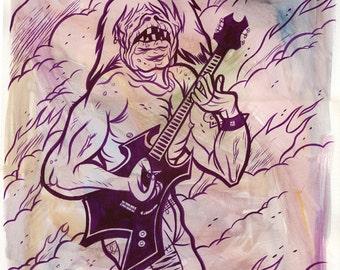 ORIGINAL 15x20 Warlock Guitarist gouache painting by Mike Gorman