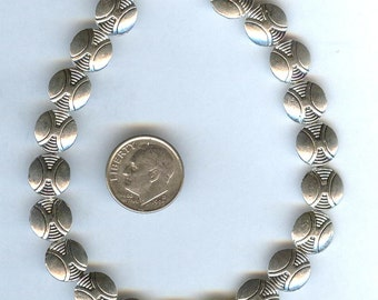 GORGEOUS Bright Silver Pewter Etched Coin Beads 10mm 6pcs