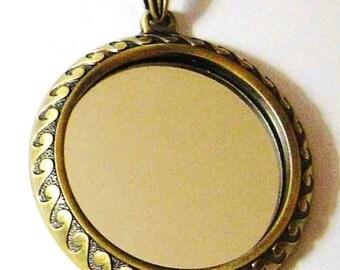 Unique Mirror Pendant Antique Gold With Bail 67mm