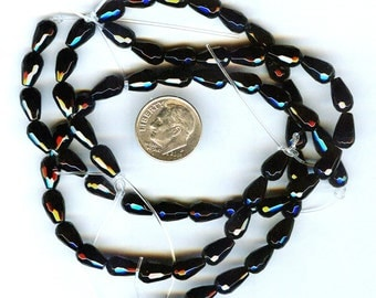 Faceted Black Onyx Teardrop Beads 10x5mm 10 pcs