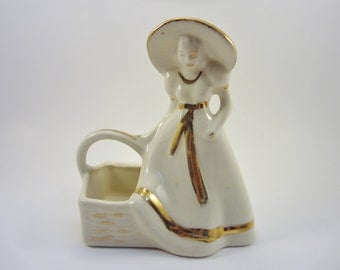Vintage White Girl with Basket - Retro Porcelain Lady with Basket -Gold Trim