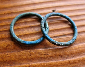 Cabos Blue Copper Links  - 2 - 18mm Patina Copper Artisan Circles