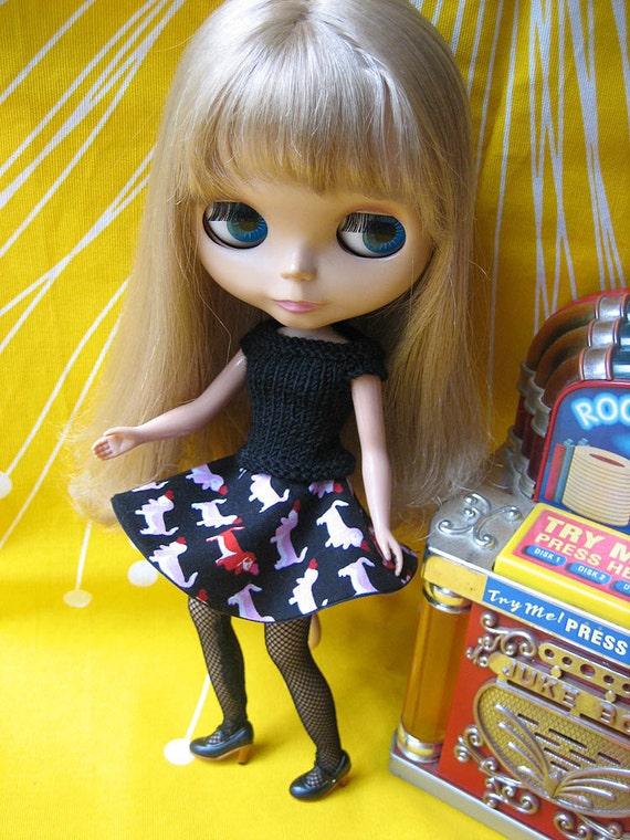 Fifties Sweater Girl and  Circle Skirt Set - Black
