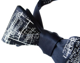 Blueprint Bow Tie. Architect gift. Navy blue architecture print mens bowtie. Ivory cream screen printed Detroit design. Freestyle bowtie.