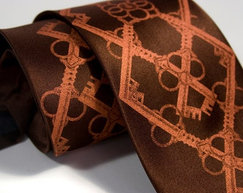 "Skeleton Key necktie, ""Argyle Key."" Interlocking diamond pattern, metallic copper print. Microfiber tartan steampunk tie."