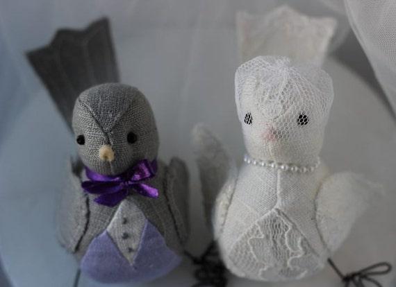 Bird Wedding cake topper - Bird Cake topper -  dark grey  ivory and lilac linen fabric - Custom Order