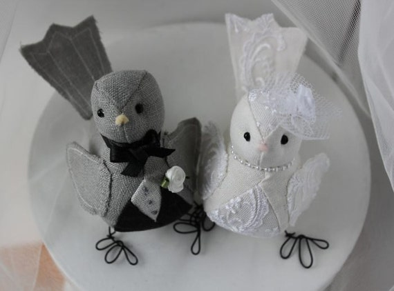 Wedding cake topper  Love Birds - Fabric  Bird Cake topper  -  in dark grey black and ivory linen lace fabric