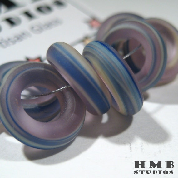 Handmade Lampwork Beads Hoops - Matte Streaky Blue Loops