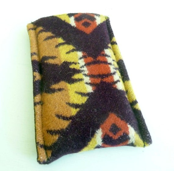 Wool Sleeve for iPhone 4 - Eagle Rock Pendleton Wool, earthy colors