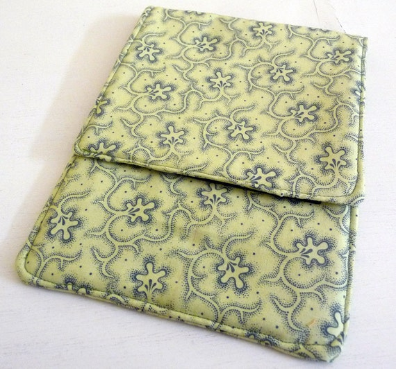 Kobo, Kindle, Ereader Sleeve Yellow Green Cotton Print, Clearance Sale