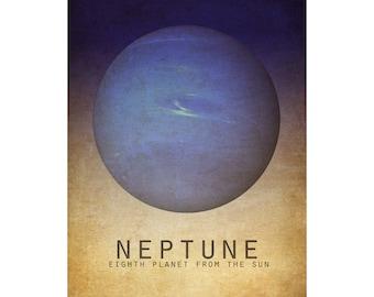 Neptune 8x10 Astronomy Art Print, Solar System Space Poster, Planet Artwork, Science Art Print