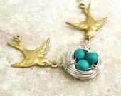 Birds Nest Necklace, Sterling Silver Birds Nest Necklace, Bird Jewelry, Birds Nest Jewelry, LOVE NEST Collection