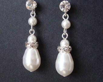 Modern Vintage Bridal Wedding Earrings, Pearl Bridal Earrings, Silver Rhinestone Wedding Bridal Earrings, Bridesmaid Jewelry, CLASSIC