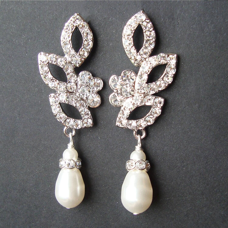 vintage inspired bridal wedding earrings swarovski