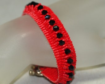 Black Crystal Path ... Bracelet . Peyote . Bright Cherry Red . Beadwoven . Stunning . Elegant . Special Occasion . Handmade . Beautiful