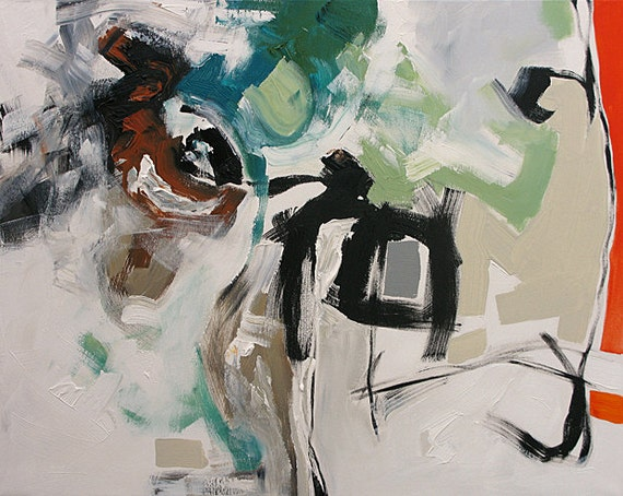 Abstract Art Original Painting Expressionism Canvas Acrylic Ethereal Green Deep Aqua Black and White by Linda Monfort